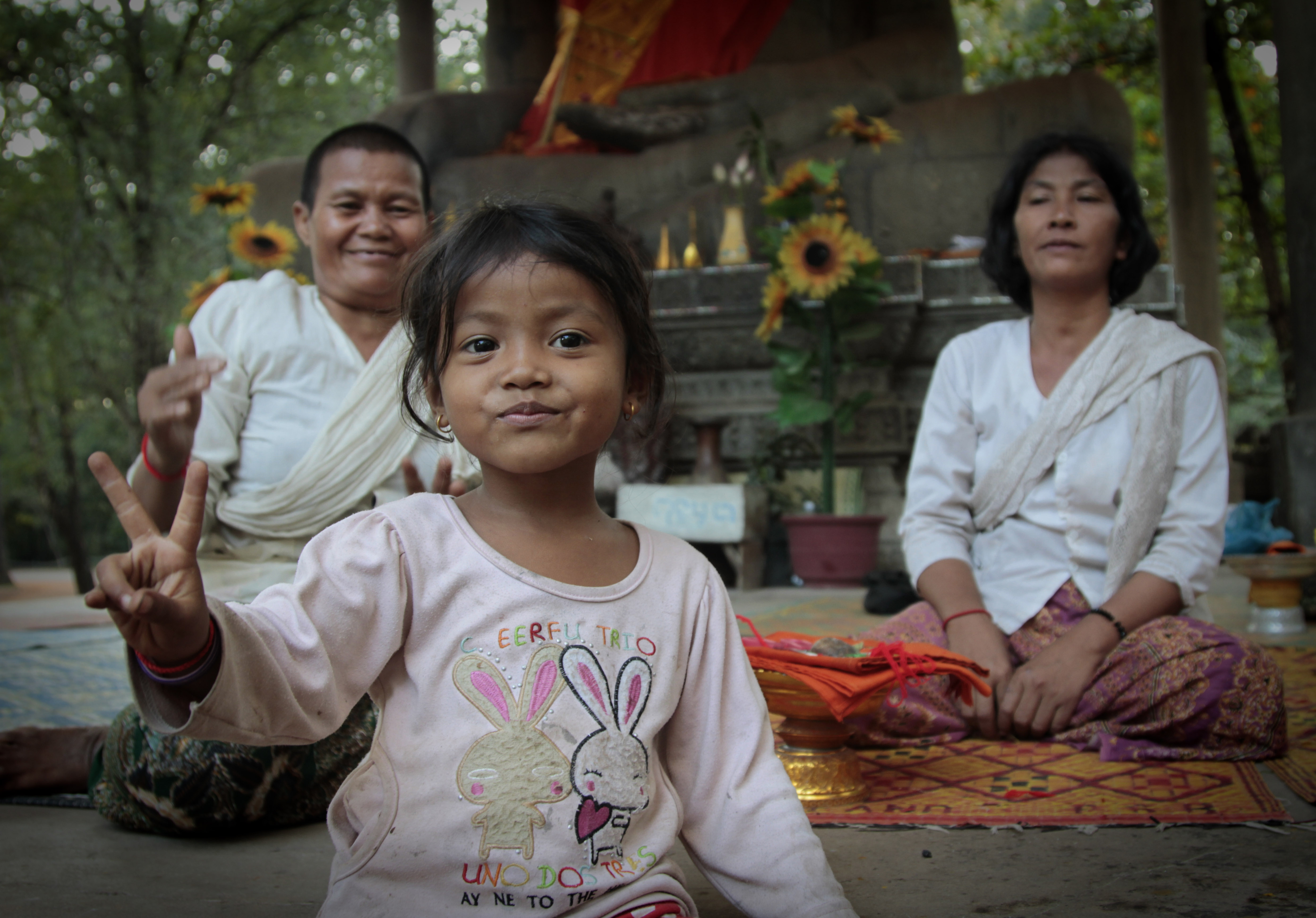 Cambodian Child with Buddhist nun, Frances Schwabenland Photography