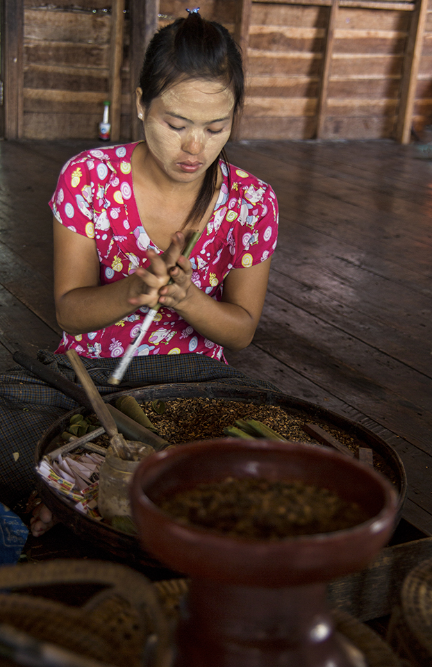 Burmese Woman Rolling Cheroot