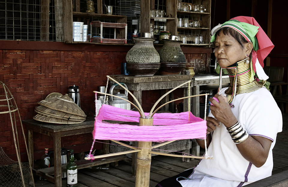 Long Neck Woman Weaving at Inle Lake