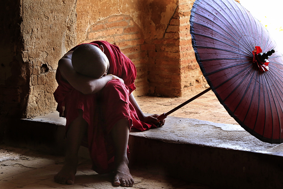 Tired Buddhist Monk