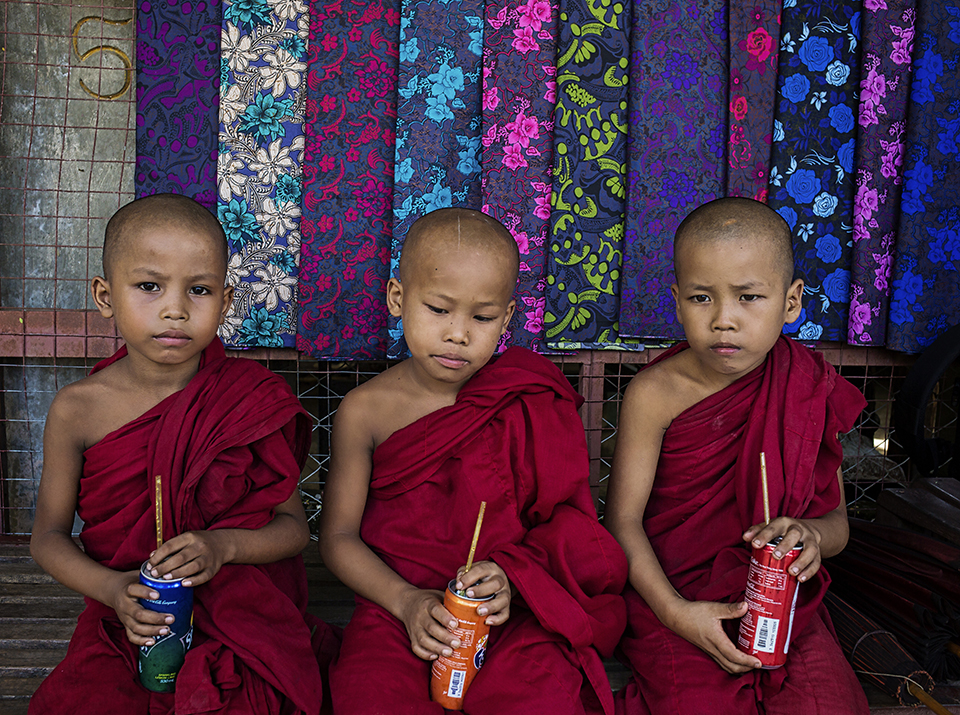 Monks Enjoying Favorite Drinks